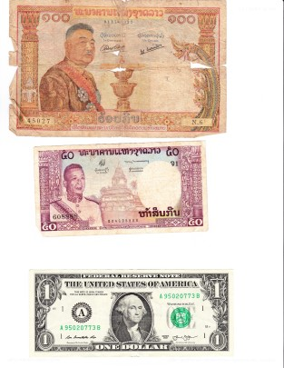 5 Orange kip notes = US $1